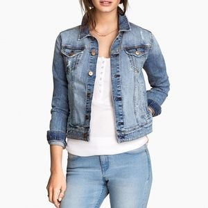 &Denim H&M Medium Wash Distressed Denim Jacket